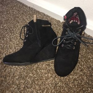 Bella Marie Black Wedge Lace Up Ankle Booties